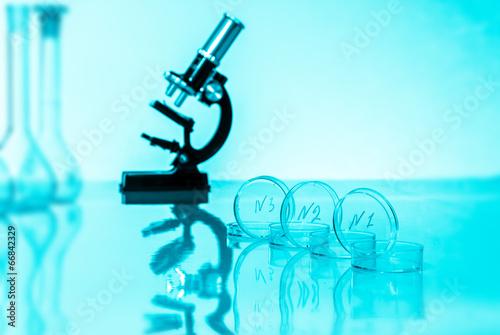 Fotografia, Obraz  Laboratory microscope lens.modern microscopes in a lab. toned im