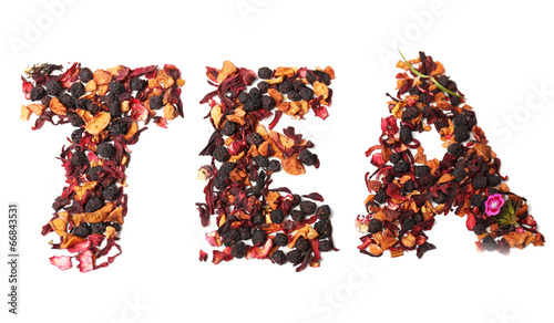 Tea mix with fruits and spices in a word shape, isolated - 66843531