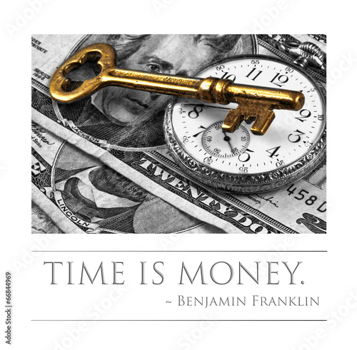 Time is money - quote by Benjamin Franklin Canvas Print