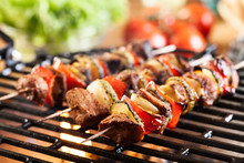 Grilling Shashlik On Barbecue ...