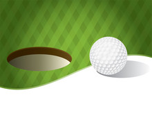 Golf Ball On A Putting Green Background