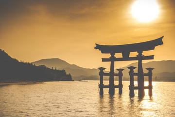 Panel Szklany Orientalny Miyajima,Famous big Shinto torii in Japan.