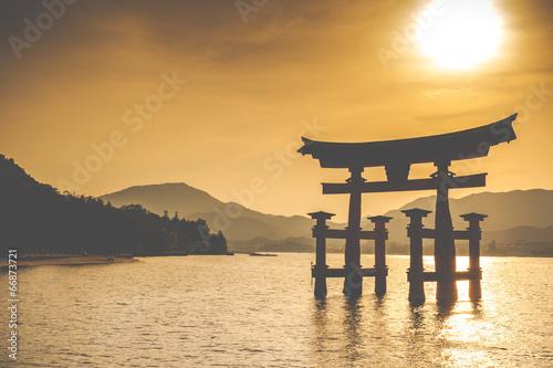 Miyajima,Famous big Shinto torii in Japan. - 66873721