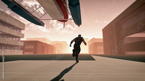 Photo Man on the run in empty street of city. Chased by an airplane.