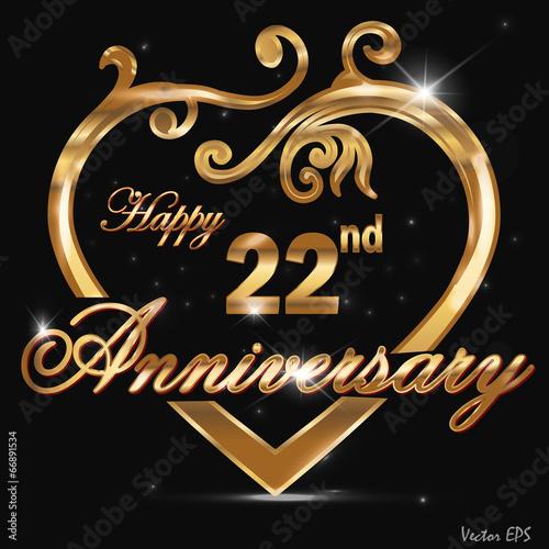 Fotografia  22  year anniversary golden heart design