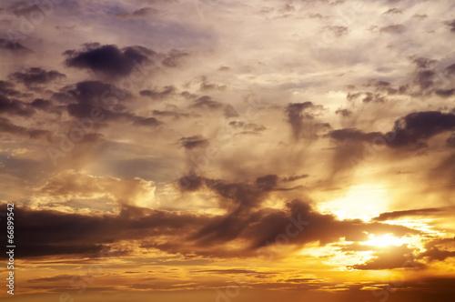 Sunset colorful sky. Beautiful orange sunset sky.