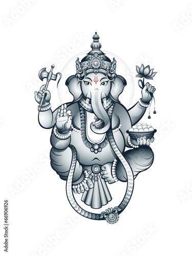 Photo  Indian elephant-head God Ganesha
