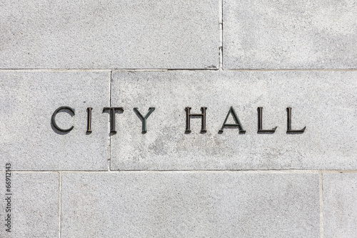 Fotografering Granite Wall CIty Hall Sign