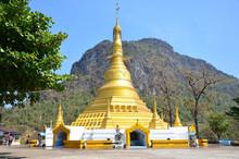 Golden Pagoda At Tai Ta Ya Monastery Of Payathonsu