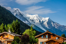 Beautiful Wood Chalet In Chamonix, France, Mont Blanc On A Sunny