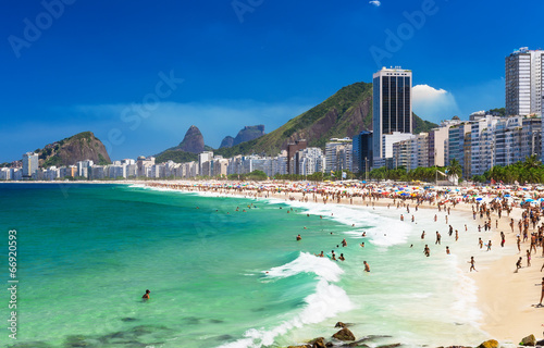 Poster Brésil view of Copacabana beach in Rio de Janeiro, Brazil