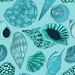 FototapetaSeamless pattern of seashells