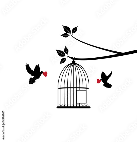 Fotografie, Obraz  vector bird cage with doves and red hearts
