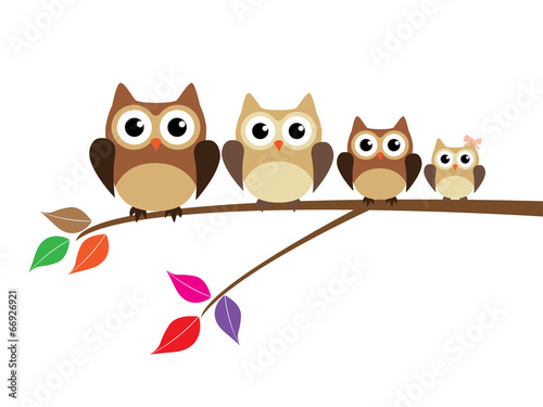 Deurstickers Uilen cartoon vector owl family