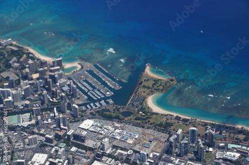 Fotografia, Obraz  Waikiki, Ala Wai Canal, Ala Moana Mall, Park and Ocean