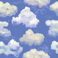 Panel SzklanyVector seamless pattern with watercolor blue clouds