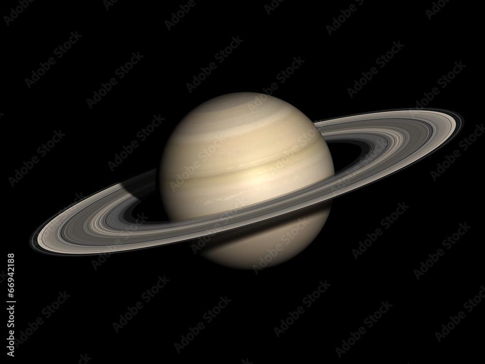 Fototapety, obrazy: Saturn isolated on black.