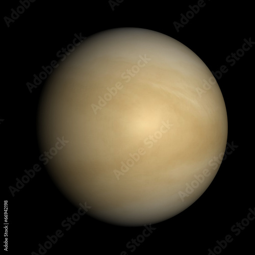 Fotografie, Obraz  Venus isolated on black. Cloud layer, not solid surface beneath.