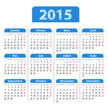 Blue Glossy Calendar For 2015 In French
