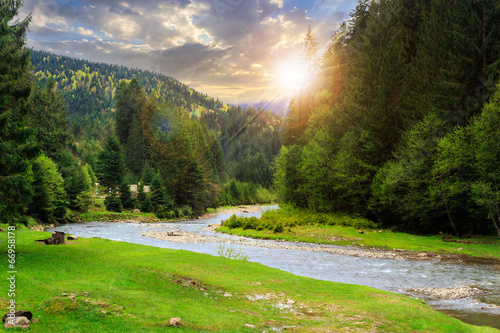 Printed kitchen splashbacks River camping place near mountain river at sunset