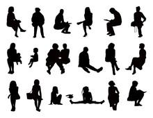 Big Set Of Women Seated Silhou...