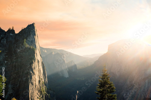 Bright sunrise in the mountains