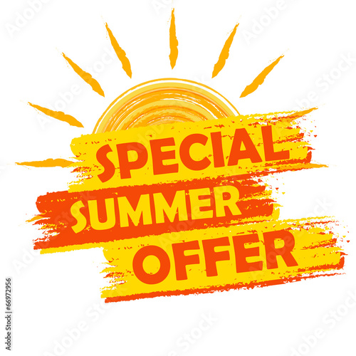 Fotografía  special summer offer with sun sign, yellow and orange drawn labe
