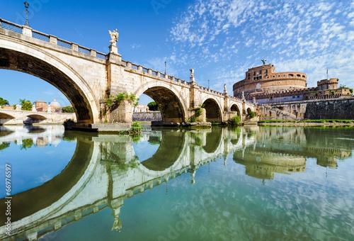 Poster Rome Bridge and castle Sant Angelo, Rome