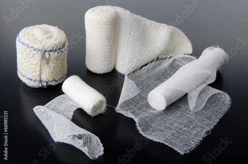 Canvas Different rolls of medical bandages