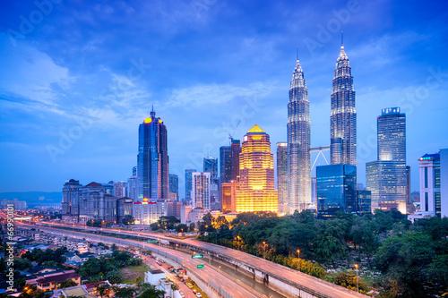 Night view of Kuala Lumpur skyline. Wallpaper Mural