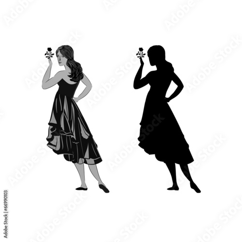 Silhouette of a girl with a rose vector illustration
