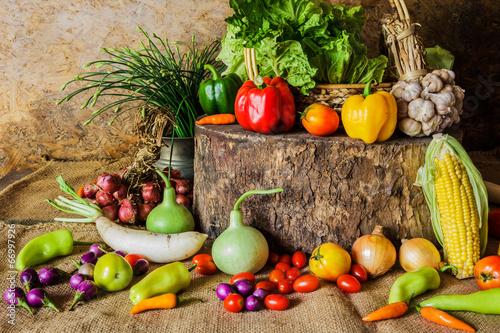 Fototapeta still life  Vegetables, Herbs and Fruit. obraz na płótnie