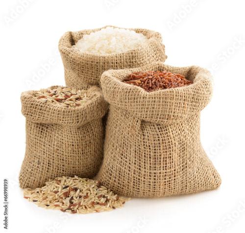 rice in sack bag on white