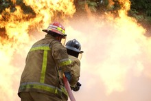 Fire Fighters Fighting Large Blaze