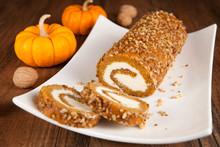 Pumpkin Roll With Walnuts