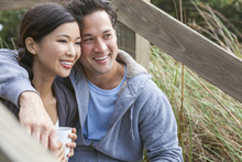 Asian Man Woman Romantic Couple Drinking Coffee