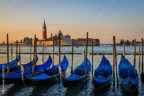 Spoed Foto op Canvas Gondolas View of gondolas at dawn, Venice, Italy