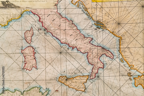 Fotografie, Tablou  Old map of Italy, Sicily, Corsica, Croatia and Sardinia