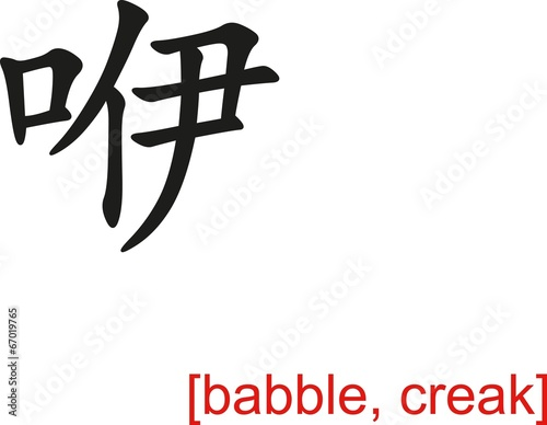 Fotografering  Chinese Sign for babble, creak