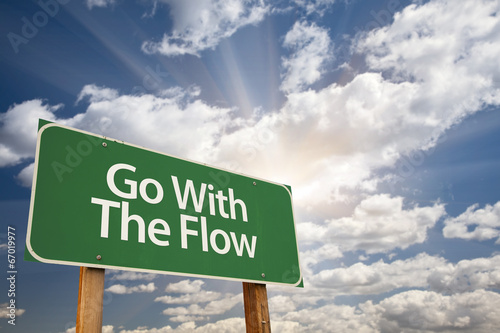 Go With The Flow Green Road Sign Wallpaper Mural