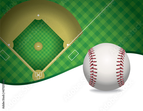 Baseball and Baseball Field Background Illustration Poster