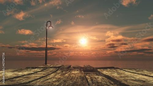 Obraz w ramie levé de soleil sur le pont