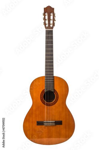Fototapeta chitarra classica in fondo bianco
