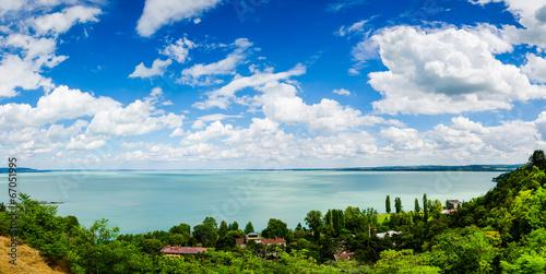 View of Balaton lake from Tihany abbey - Hungary Canvas Print