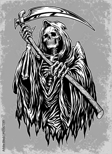 Photo  Hand Inked Grim Reaper Illustration