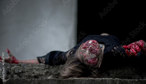 Suicide girl in abandoned building Canvas Print