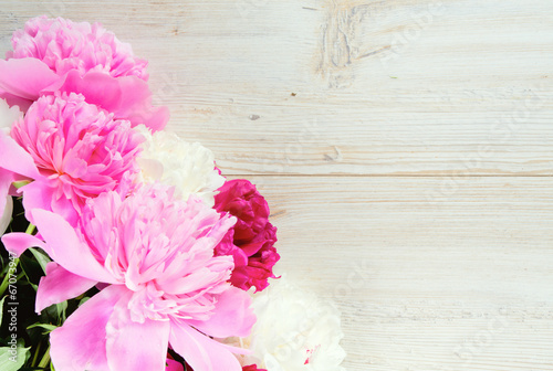 Garden Poster Floral colorful peonies on white wooden surface