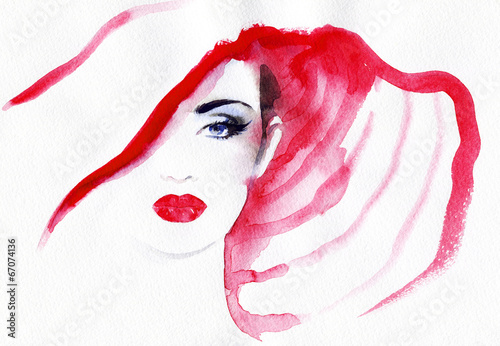 Tuinposter Aquarel Gezicht abstract watercolor .woman portrait
