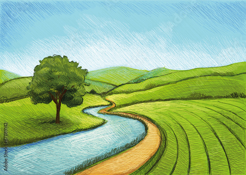 Papiers peints Piscine Landscape with River