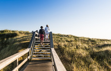 People On Wooden Footpath On Dunes On Beach In Germany.